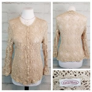 Northern Reflections 3/4 Sleeve Crochet Cardigan